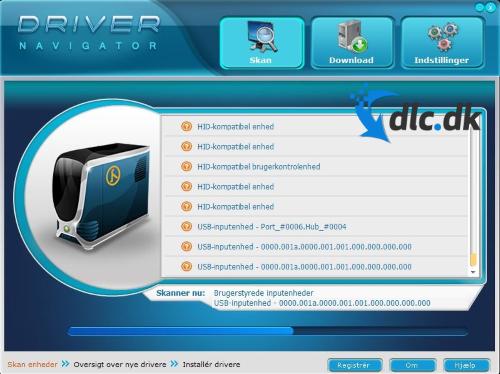 Screenshot af Driver Navigator (Dansk)