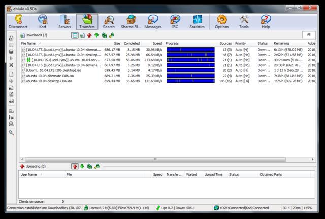 Screenshot af eMule