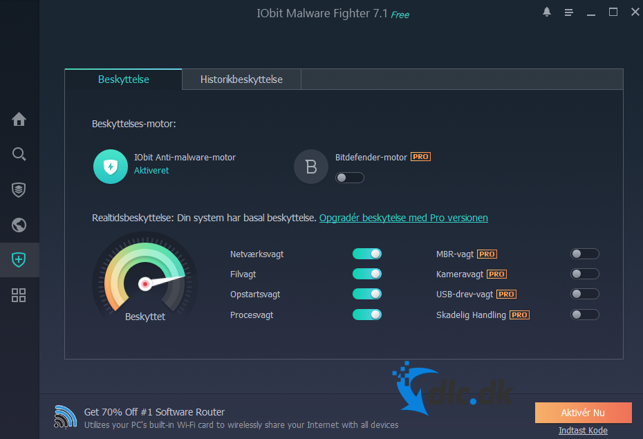 Screenshot af IObit Malware Fighter PRO (Dansk)