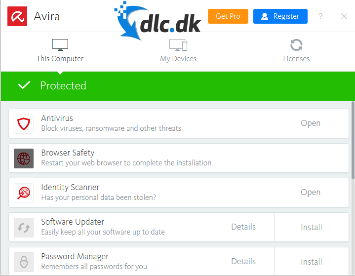 Screenshot af Avira Free Antivirus