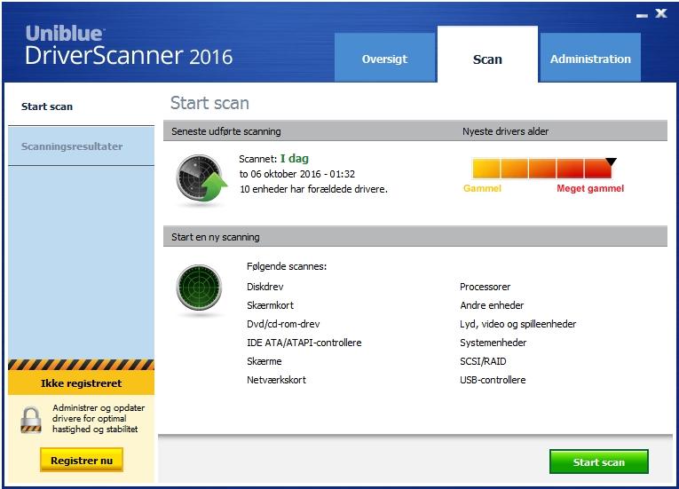 Screenshot af DriverScanner (dansk)