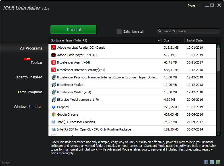 Screenshot af IObit Uninstaller