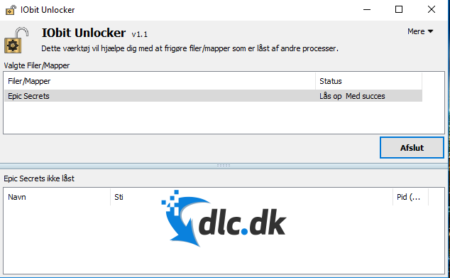 Screenshot af IObit Unlocker