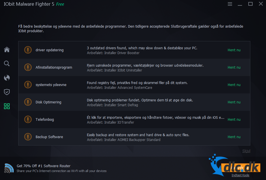 Screenshot af IObit Malware Fighter Free