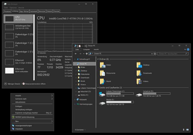 Screenshot af Windows 7 Only black theme