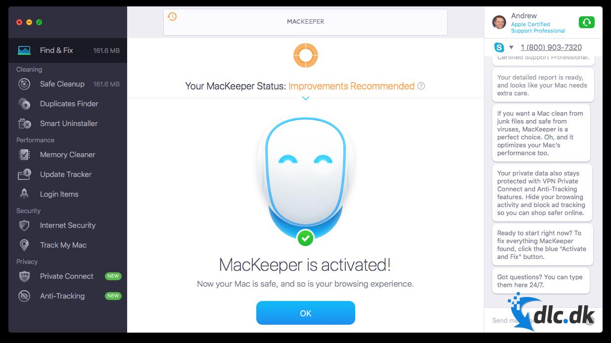 Screenshot af MacKeeper (dansk)