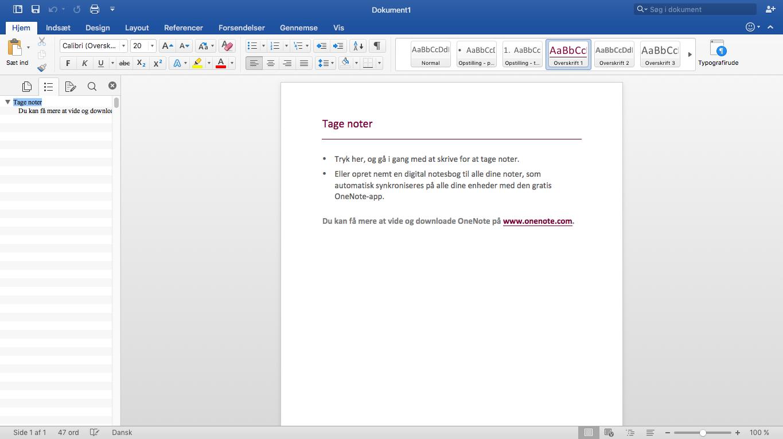 Screenshot af Microsoft Office 2016 til Mac på dansk