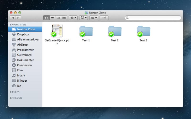 Screenshot af Norton Zone til Mac