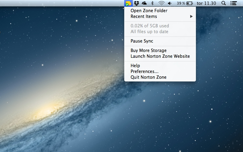 Screenshot af Norton Zone til Mac