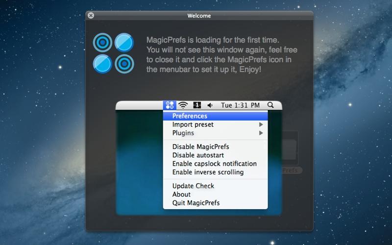 Screenshot af MagicPrefs