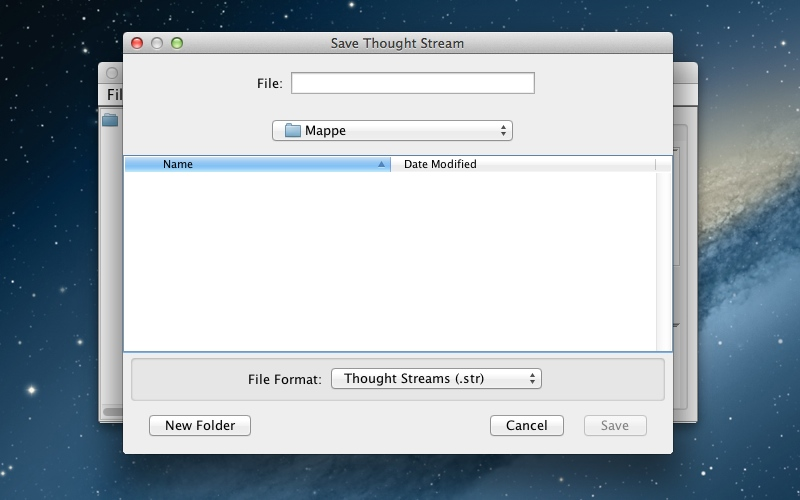 Screenshot af ThoughtStack til Mac