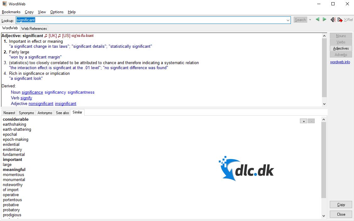 Screenshot af WordWeb