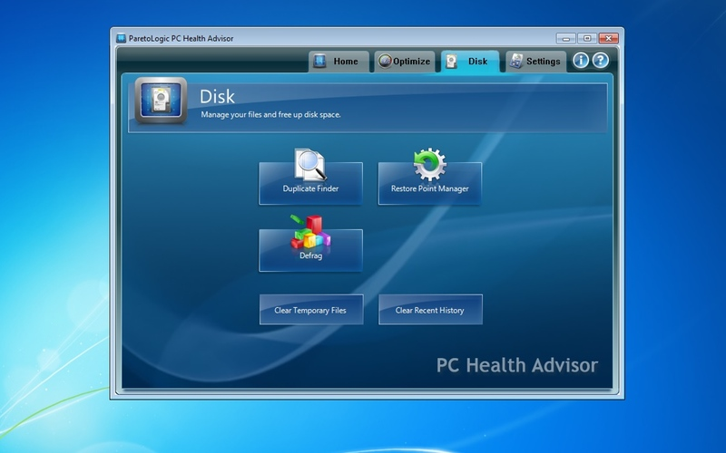 Screenshot af PC Health Advisor (Dansk)