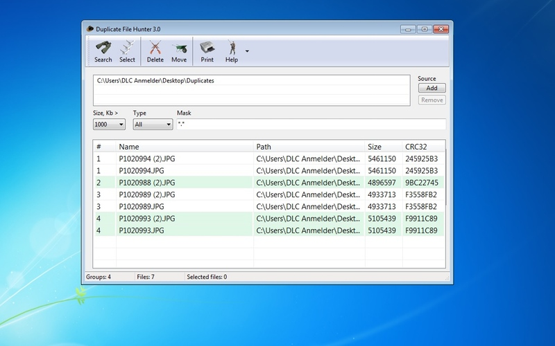 Screenshot af Duplicate File Hunter