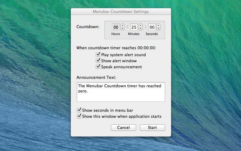 Screenshot af Menubar Countdown til Mac