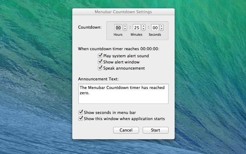 Screenshot af Menubar Countdown til Mac