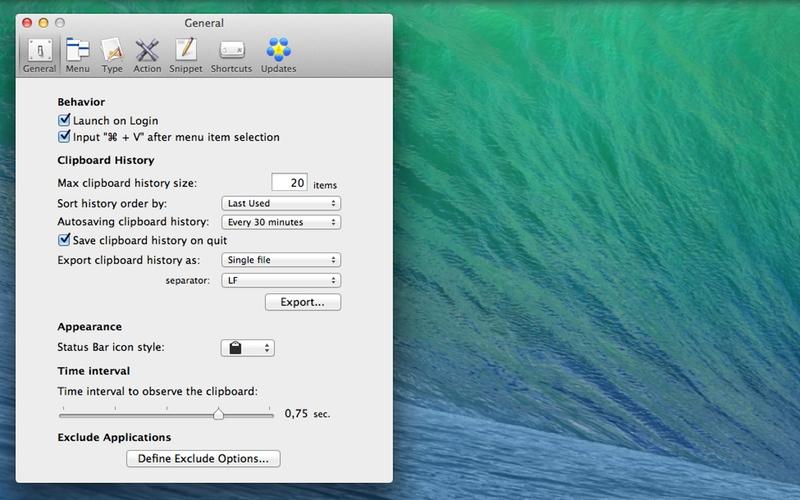 Screenshot af ClipMenu til Mac