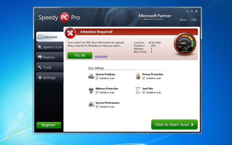 Screenshot af SpeedyPC Pro