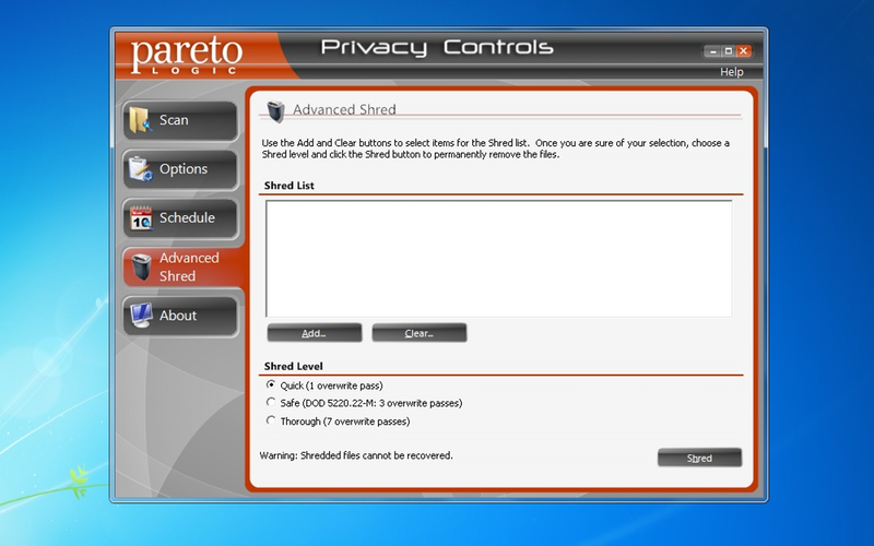 Screenshot af ParetoLogic Privacy Controls