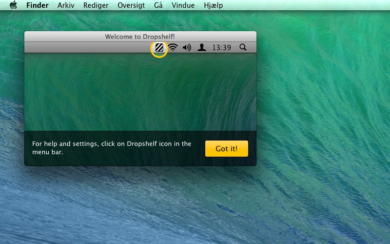 Screenshot af Dropshelf til Mac