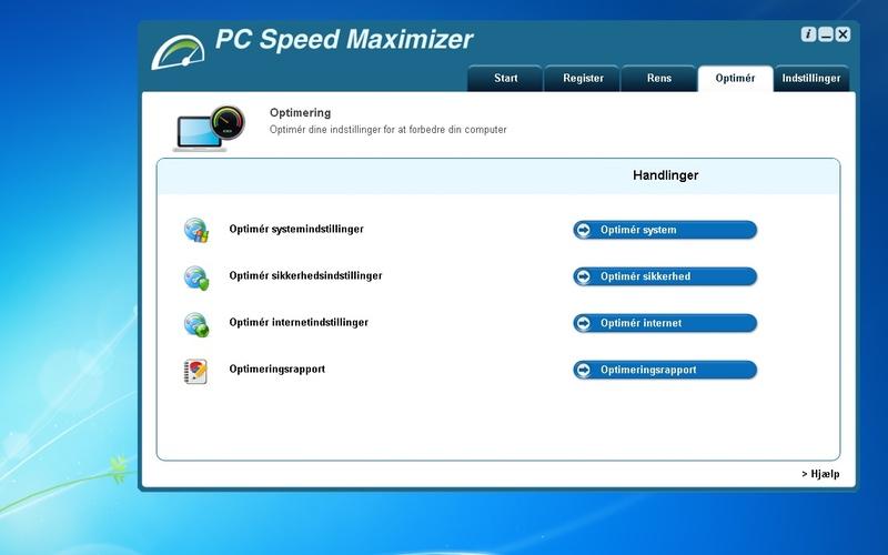 Screenshot af PC Speed Maximizer (Dansk)