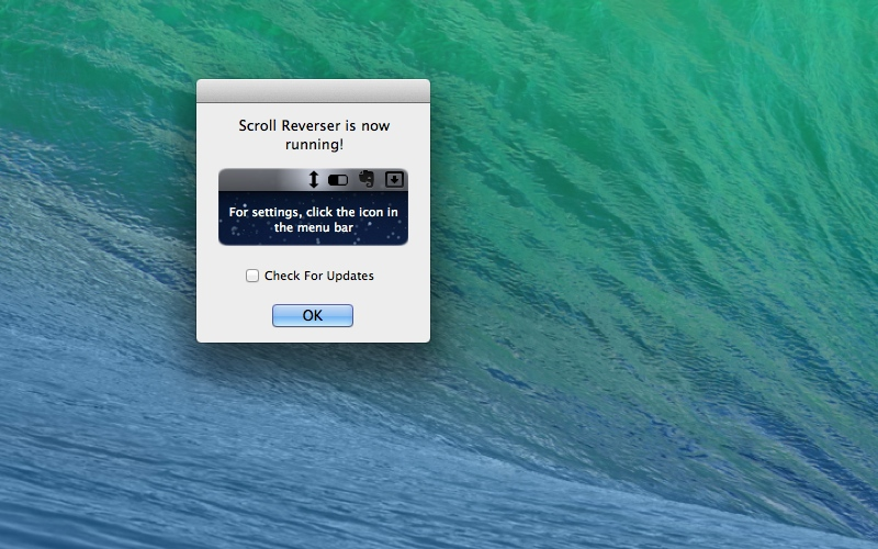 Screenshot af Scroll Reverser til Mac