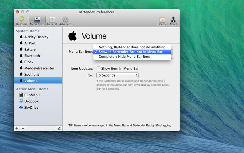 Screenshot af Bartender til Mac