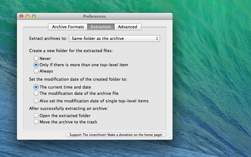 Screenshot af The Unarchiver til Mac