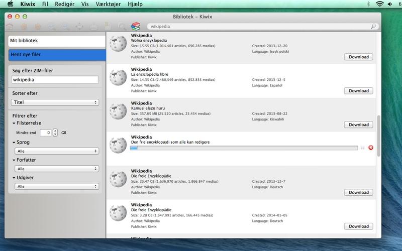 Screenshot af Kiwix til Mac (Dansk)