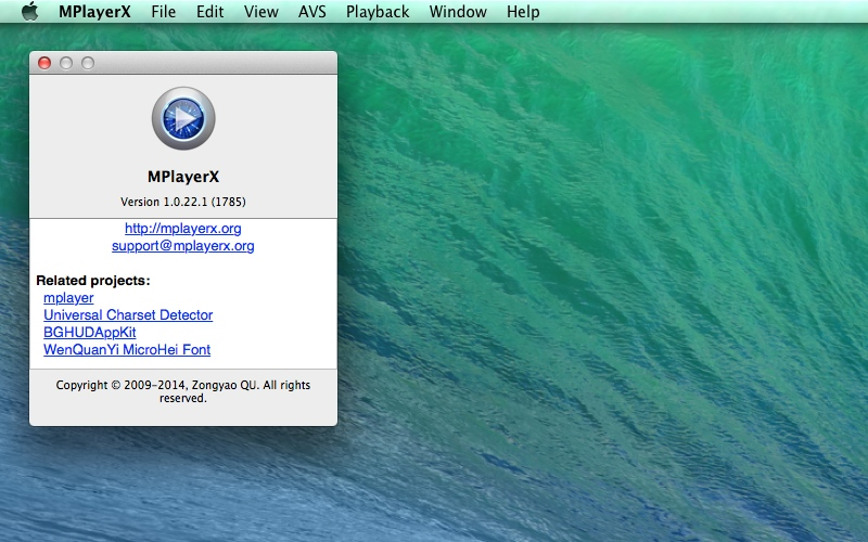 Screenshot af MPlayerX til Mac
