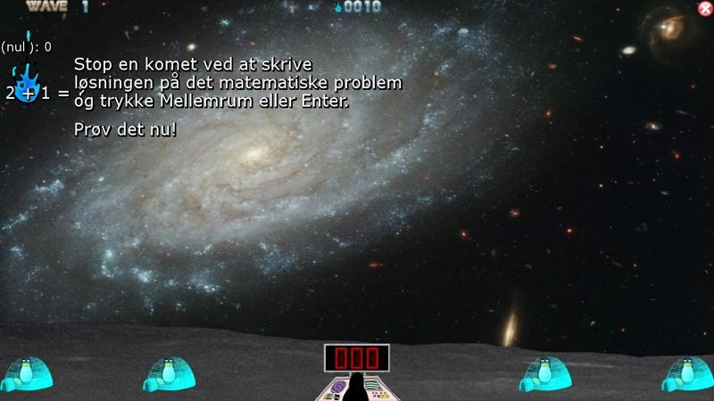 Screenshot af TuxMath (Dansk)