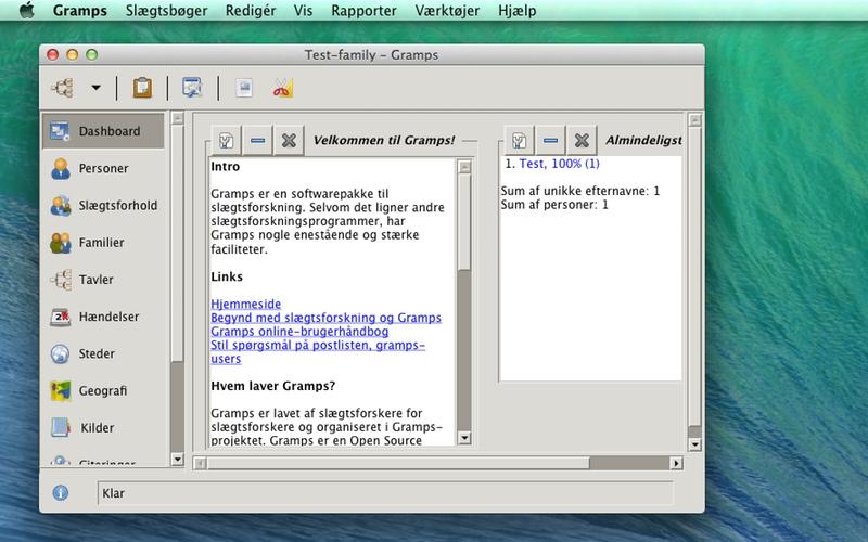 Screenshot af Gramps til Mac (Dansk)