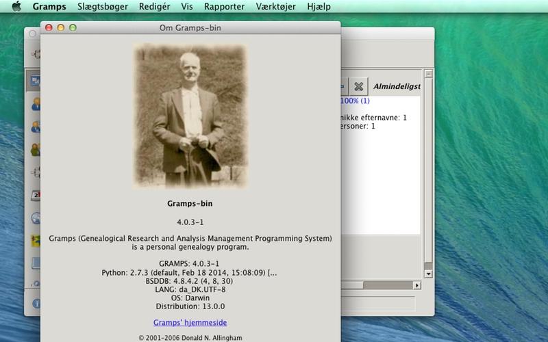Screenshot af Gramps (Dansk)