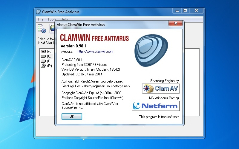 Screenshot af ClamWin Free Antivirus