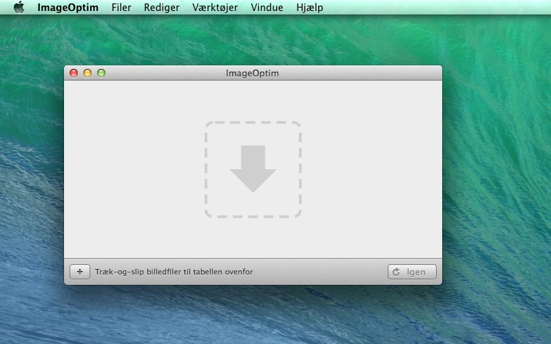 Screenshot af ImageOptim til Mac (Dansk)