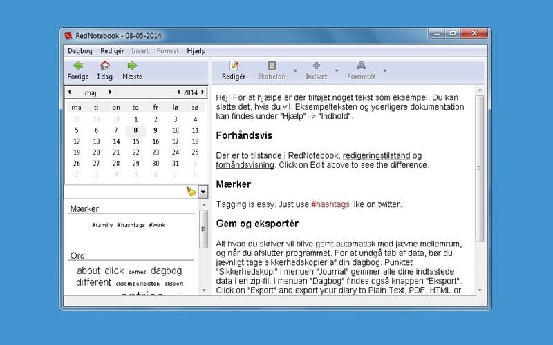 Screenshot af RedNoteBook (Dansk)