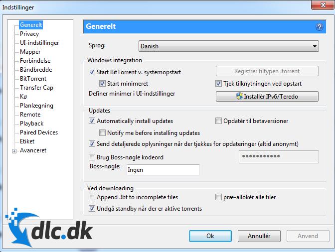 Screenshot af BitTorrent (dansk)
