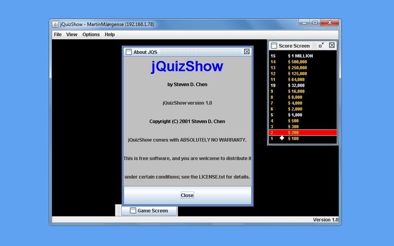 Screenshot af jQuizShow