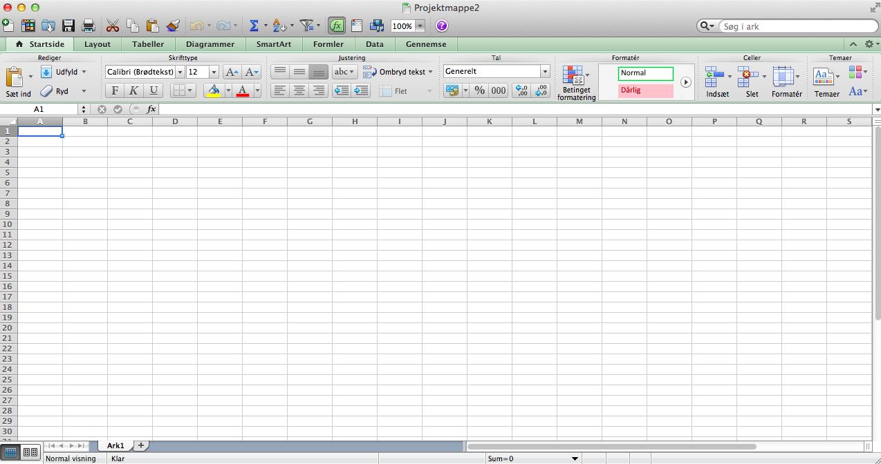 Screenshot af Microsoft Office Hjem & Student til Mac på dansk