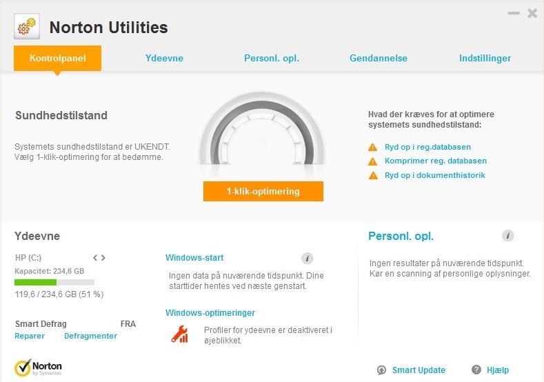 Screenshot af Norton Utilities (dansk)
