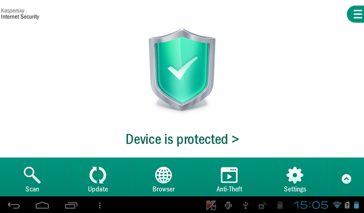 Screenshot af Kaspersky Internet Security til Android