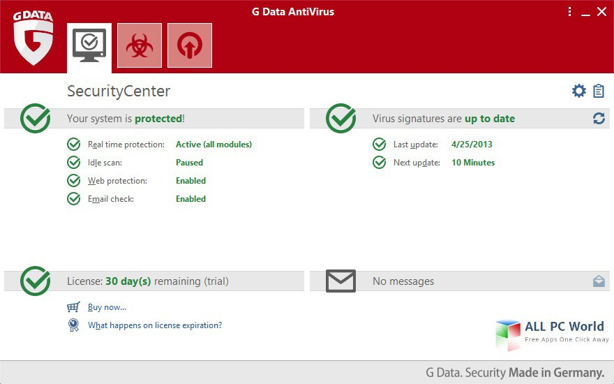 Screenshot af G Data Antivirus