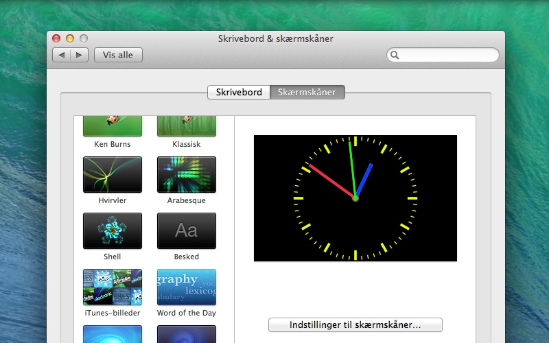 Screenshot af ClockSaver til Mac
