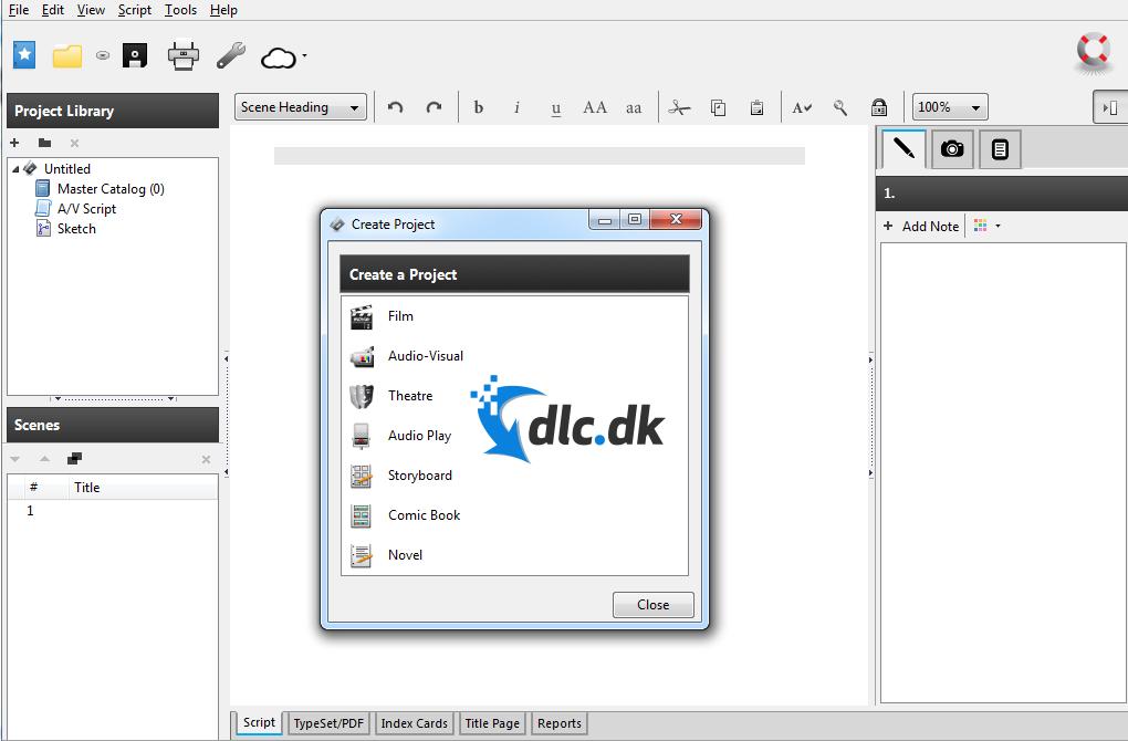 Screenshot af Celtx til Mac