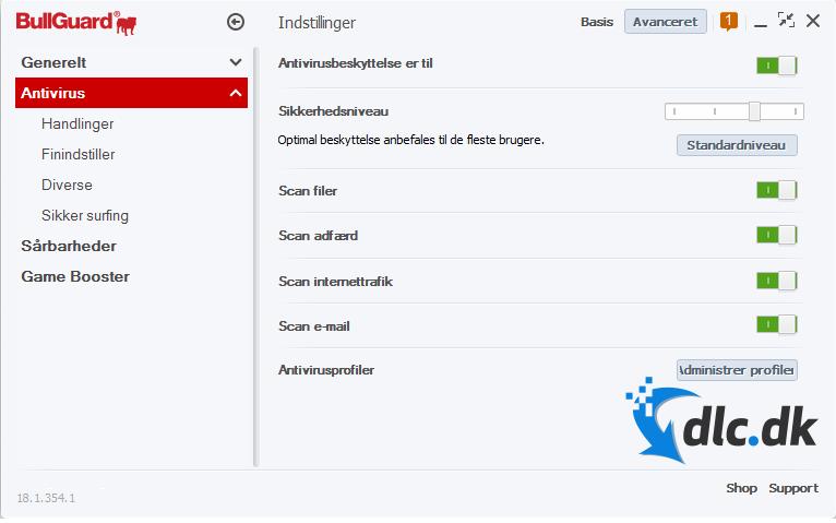 Screenshot af BullGuard Antivirus (Dansk)