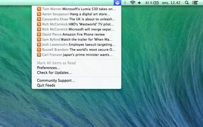 Screenshot af Feeds til Mac