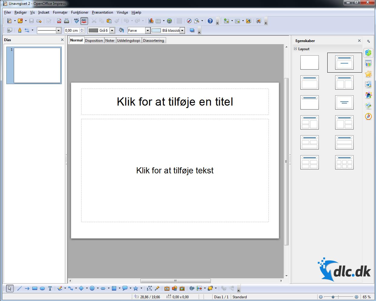 Screenshot af OpenOffice (Dansk)