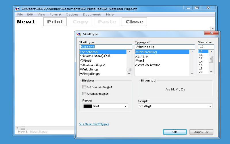 Screenshot af 12Ghosts Notepad