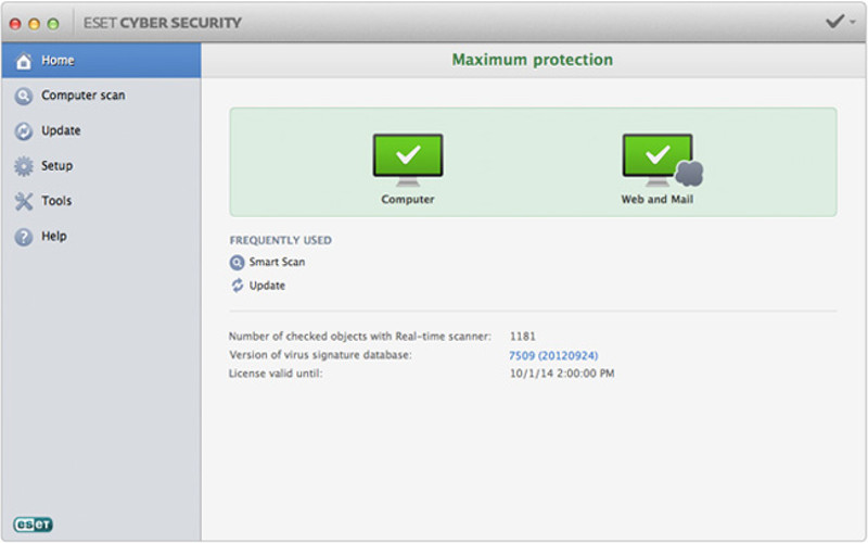Screenshot af ESET Cyber Security til Mac