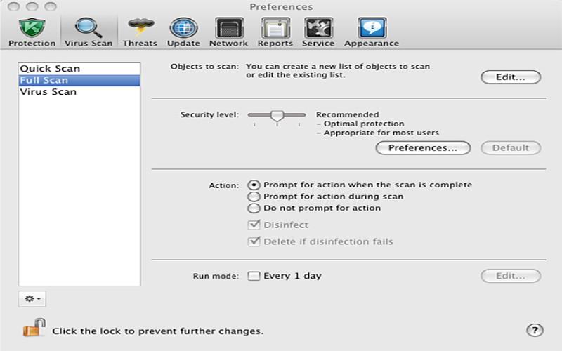 Screenshot af Kaspersky Internet Security til Mac